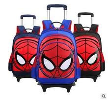 3D Spider Men Children's Travel Luggage Backpack on wheels Boy's trolley Backpack with wheel for shcool Kids Rolling Bag School