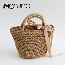 beach bag straw totes bag bucket summer bags with Bow women handbag braided 2017 new arrivals spring and summer high quality