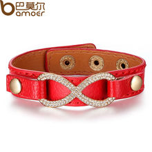 BAMOER Genuine  Gold Color Real Red Leather Infinity Bracelets & Bangles With Crystal for Women 4 Colors PI0331