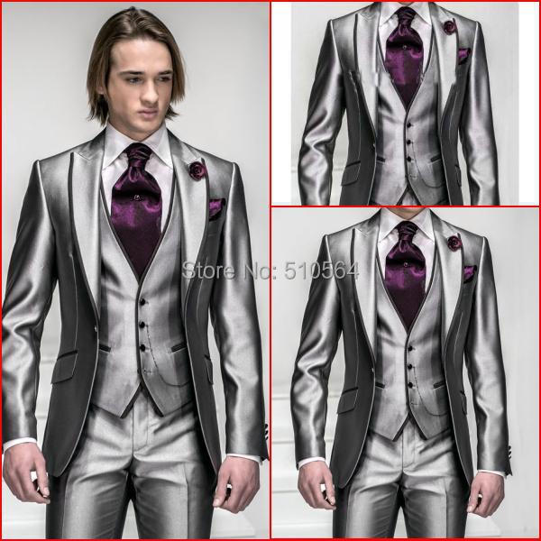 Custom made bright silver tuxedos with black line on the collar and vest bright light grey suit(Jacket +pants+vest+tie)