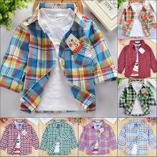 2017 new children's shirts for boys spring autumn -summer long sleeves girls blouses plaid cotton clothing kids shirts for girl