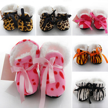 2017   On Sale  Winter Thicker Shoes Leopard Print Baby Toddler Shoes / Baby Shoes Household New