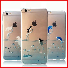 2015 Popular Marine Animals Transparent Blue Dolphins Penguins Polar Bears Sink Case Cover for iphone 6 6s 4.7""