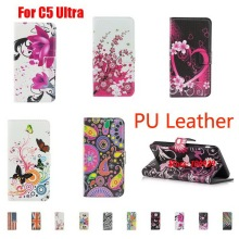 Luxury Painted  PU Leather Lather Leathe Wallet Case Caso For Sony Xperia C5 Ultra E5533 E 5533 C 5 Flag Butterfly Meteor