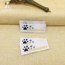 Free Shipping Customized garment labels / woven labels/clothing embroidered tags/LOGO with cut and fold(China)