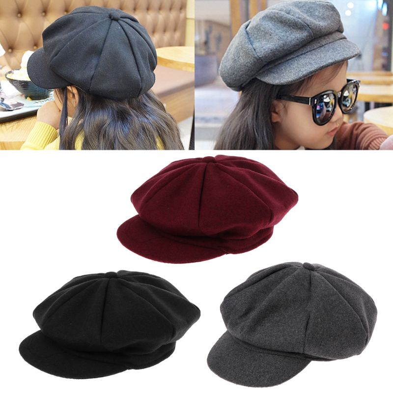 Winter Beret Caps Hat Flat-Cap Newsboy Girls Boys Kids Fashion 3-Colors Artist Woolen title=
