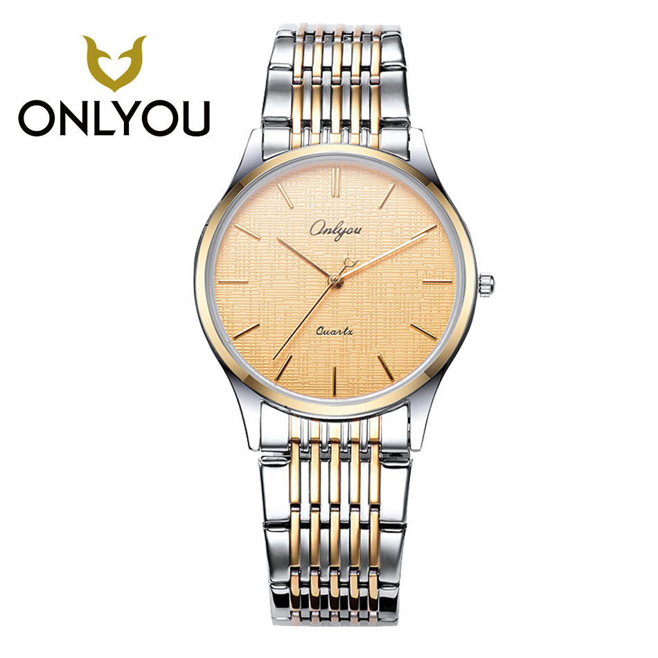 ONLYOU 2017 Popular Quartz watches Retro Lover Watch All Black Watch Male Date Clock Women Watches ultra-thin stainless steel <br>