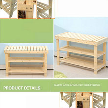 80X29X46CM Solid Pine Wood Shoe Rack Shoe Shelf Storage Scoop Chair Of Nature Color(China)