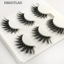HBZGTLAD 3 Pairs/1 set 100% Handmade 3D Cross Thick False Eye Lashes Extension Makeup Fake Eyelashes(China)