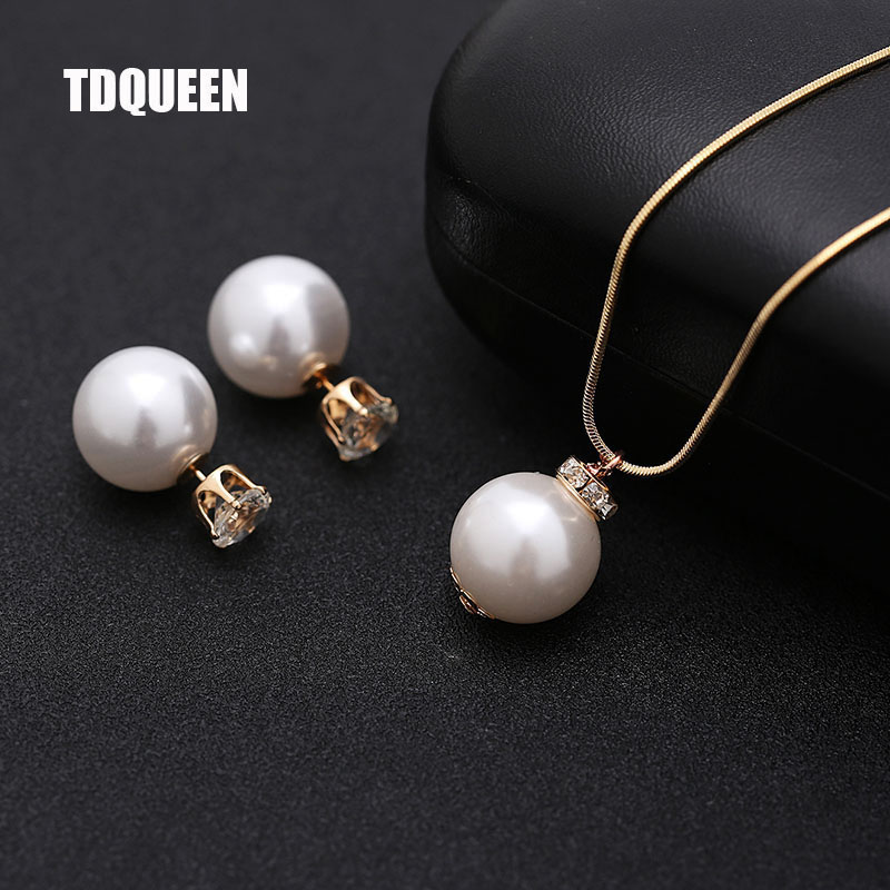 Imitation Pearl Jewelry sets for Women Gold-color Metal Chain Round White Pearl Necklace and Earing set Austrian Crystal Jewelry (2)