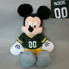 free shipping 40cm Original NFL Mickey Mouse plush soft doll, Green Bay Packers Mickey Mouse toys for boy toys