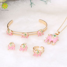 2017 Gold Color Lovely Elephant Children Jewelry Baby Jewelry Sets Kids Necklace Bracelet Earrings Ring Set(China)