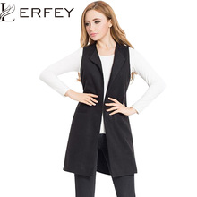 LERFEY Spring Vest Women Wool Blend Coat Waistcoat Ladies Office Wear Long Waistcoat Casual Sleeveless Vest Jacket Plus Size
