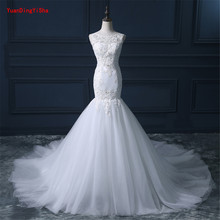 Buy Real Picture Lace Mermaid Wedding Dress 2017 O-neck zipper Back Vestido De Novia Sexy Chapel Train Bridal Gown Dresses for $235.84 in AliExpress store