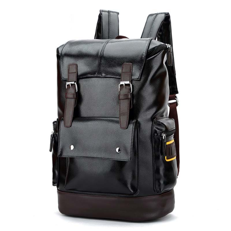 NEW fashion men backpack Pu leather male backpacks High capacity Travel bag High quality student bags Business Laptop bag<br>