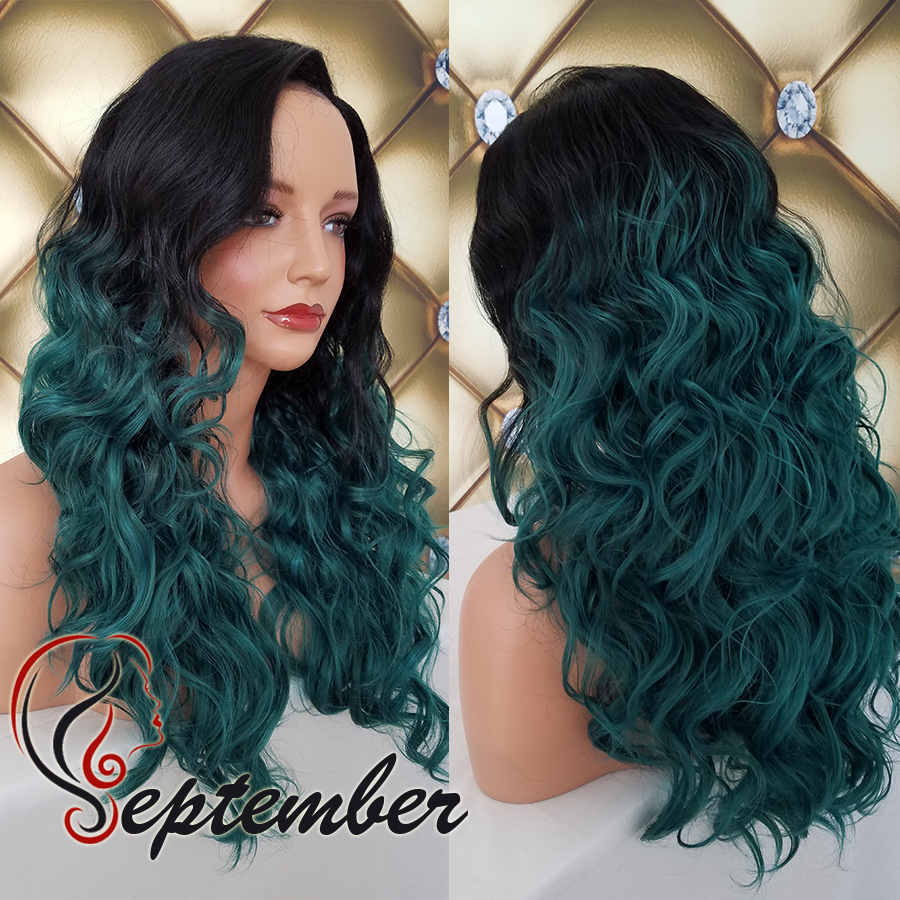 Synthetic lace front wig Ombre Green body wave hair glueless heat resistant synthetic lace front wig for black women green wig<br><br>Aliexpress