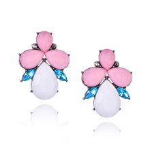 Best lady 2017 New Colorful Flower Big Brand Design Luxury Starburst Pendant Crystal Stud Gem Statement Earrings Jewelry