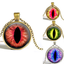 2017 hot sale cat eye necklace antique bronze necklace evil eye jewelry dragon eye necklace glass dome handmade jewelry