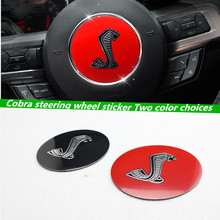 1pcs 85mm Black/gules Cobra Car Styling Steering Wheel Center Decorative Badge Sticker for Ford Mustang Shelby