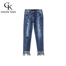 2017 New Summer Womens   Western Style Ninth-length Jeans Hole Zipper Fly Hollow Out Soild Tassel Ladies Jeans