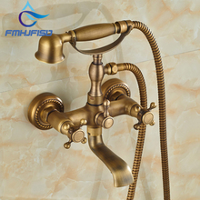 Wholesale And Retail Promotion Modern Antique Brass Cloowfoot Wall Mounted Bathroom Tub Faucet W/ Hand Shower Sprayer Mixer(China)