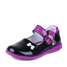 Girls Leather Shoes For Children Fashion Princess Shoes Kids Baby Party Patent Leather Shoes With Bow Students Single Shoes(China)