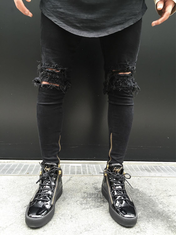 2017 Distressed Biker Jeans Men Rockstar Ankle Zipper Big Hole  Punk Classic Destroyed Skinny Ripped Hip Hop Jeans for MenÎäåæäà è àêñåññóàðû<br><br>