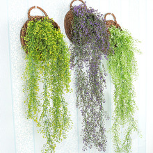 Hanging wall decoration simulation plant plastic flowers plants furniture rattan basket Orchid Restaurant ornaments(China)