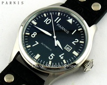 Parnis 47mm black dial Stainless steel case seagull automatic movement date mens watch