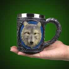 1Piece 3D Wolf Pattern Retro Resin Stainless Steel Lining Coffee Mug Animal Cartoon Lone Wolf King Drinking Cup(China)