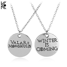 Hot ! Game of Thrones Letter Winter is Coming Valar Morghulis Pendant Necklace Top Grade Quality Metal Alloy Jewelry Best Gifts