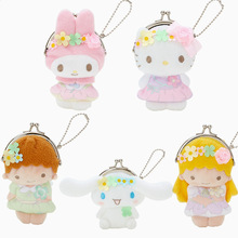 New Cute Japan Cartoon Sanrio Hello Kitty Melody Little Twin Stars Plush Toys Coin purses for girls Toys Bag pendant 10cm(China)