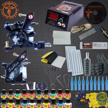 Completed Tattoo Kit 20 Color Tattoo Ink Set 2 Machines Set Black Power Supply Needles Permanent Make Up Professional Tattoo Kit