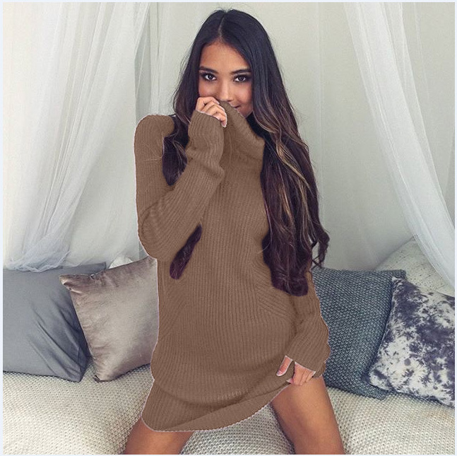 Turtleneck Long knitted pullover sweater, Women's Jumper, Casual Sweater 35