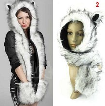 Faux Fur Winter Hat Animal Wolf Hood Scarf Hat Glove Set Ladies Girls Mens Hoods Scarf 5 Style Free Shipping