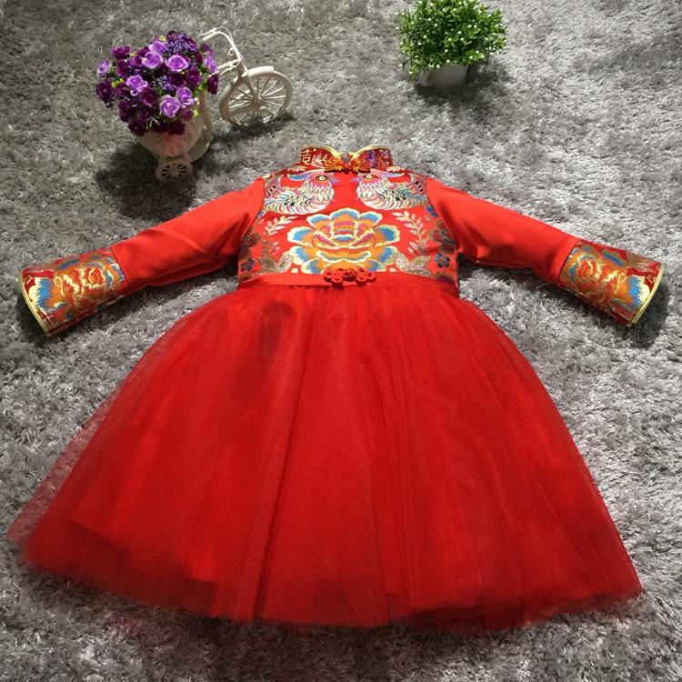 Red long-sleeved girls cheongsam dress show children dress princess dress flower TongPengPeng veil evening dress<br>