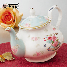 YeFine Luxury Ceramic Teapots High Quality Bone China British Afternoon Black Tea Pot Coffee Set Brief Design(China)