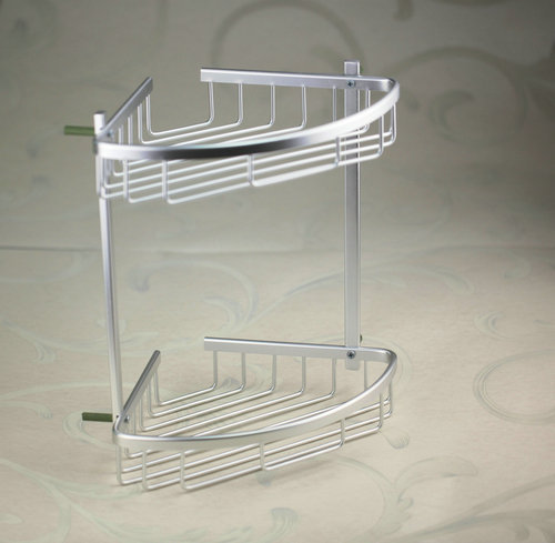 e_pak Dual Tier 5232 Triangle High Quality Space Aluminum Bathroom Shelf Thickening Towel Rack Shelves<br>
