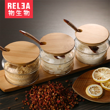 Glass Spice Storage Jars Set Kitchen Supplies Seasoning Boxes Condiment Storage Bottles (3pcs Jars / 3pcs Spoons / 1pc Pad)(China)