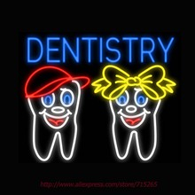 Neon Sign Dentistry Teeth Logo Real Glass Tube Handcrafted neon signs Custom Health Store Display ADVERTISE Free Design 31x24(China)