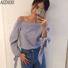 AIZHIXI Blue Striped Bow Cuff Casual Blouse 2017 Summer Sexy Off The Shoulder Shirts Women's Three Quarter Sleeve Tops
