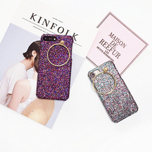 Bling Glitter Case Finger Ring Pendant Back Cover Shell for iPhone 7 6 6S Plus 4.7 5.5 Inch OPPO R9S PLUS