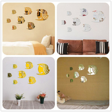 Gold & Silver 3D Mirror Wall Stickers Fish Pattern DIY Bed Room Decoration Wall Sticker Living Room Home Decor