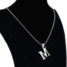 1 pc M Letter Fashion Stylist Women Gift Gold plate Letter name Initial chain Pendant letter Necklace fine jewelry(China)