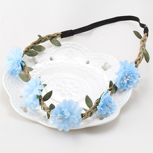 Popular Women's Bride Flower Headband Bohemian Style Floral Flower Garland Hairband Ladies Girls Elastic Beach Hair Accessories