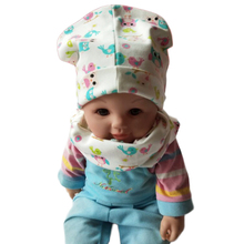 1 set beautiful heart tree bunny car printed cotton baby cap scarf set boy girls hat collars Kids beanies children cap scarves(China)