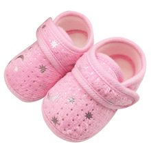 Cute Infants Boys Girls Shoes Cotton Crib Shoes Star Print Prewalker New Baby Shoes(China)