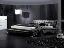 Multicolor Leather Soft Beds, solid Wood Frme, Genuine leather Top Grain Level bedroom Furniture black, brown B05(China)