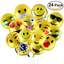 24pcs 18 Inch Foil Party Balloons Foil Balloon Birthday Party Emoticons Helium Ballon Wedding Decor Inflatable Balls(China)