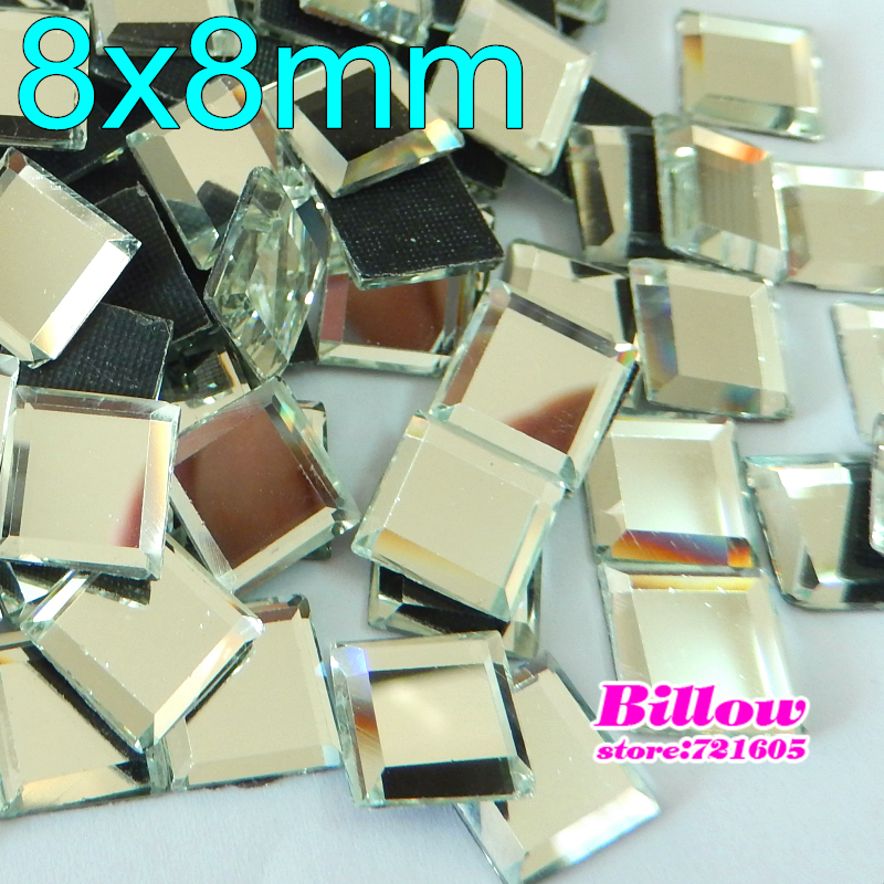Square 8X8mm 100pcs/Lot Clear Crystal HotFix FlatBack Rhinestones mirror face glass strass Hot Fix stone for Wedding Dress B0277(China)